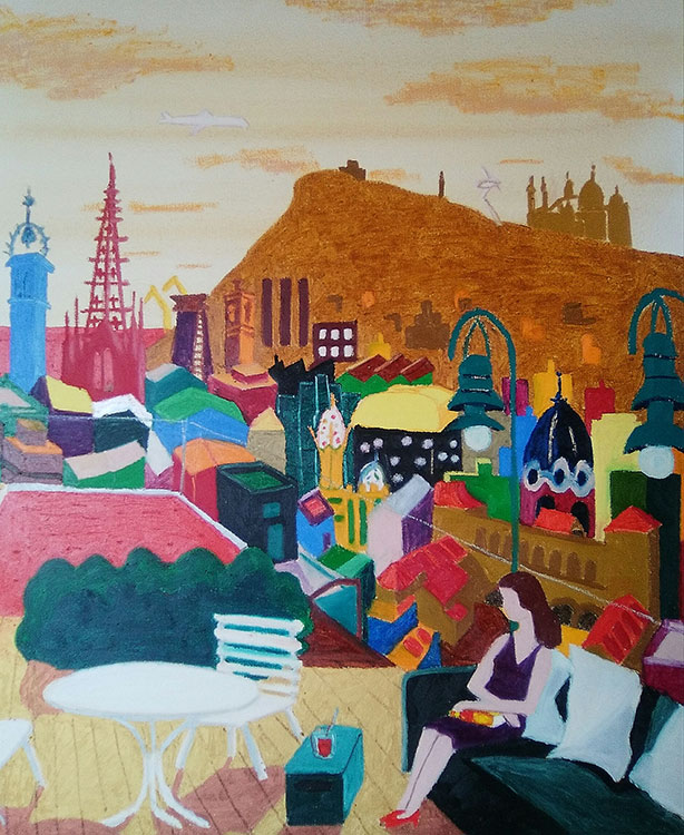 Terraza dorada del Hotel Yurbban